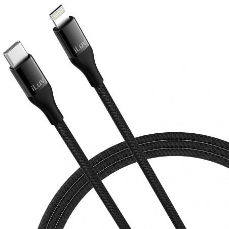 Cabo iLuv Lightning/USB-C 3ft (0.9m) ICB274BK Premium MFI Negro - 1